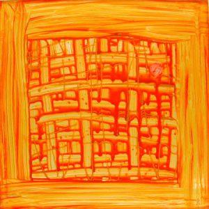 Geometrische Acrylmalerei auf quadratischem Glas in Gelb- und Orangetönen