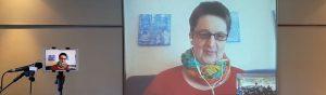 Annette via Videochat zugeschaltet