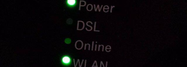 Teilweise leuchtende Birnchen am Router