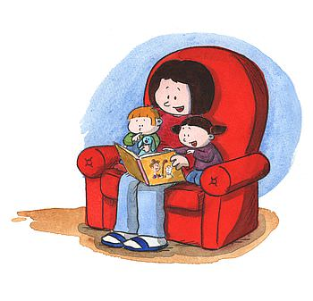Mother in a red armchair reads a book to two children sitting with her
