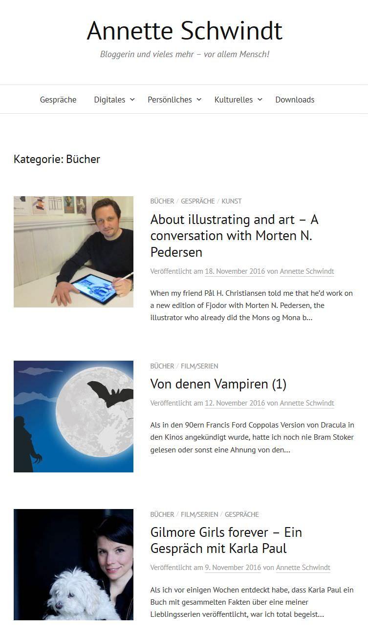 Alte Kategorieseite mit untereinander gelsiteten Artikeln
