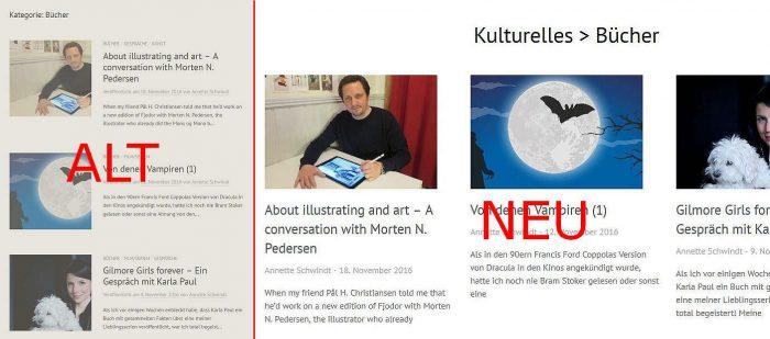 Screenshots von der alten und neuen Kategorieansicht
