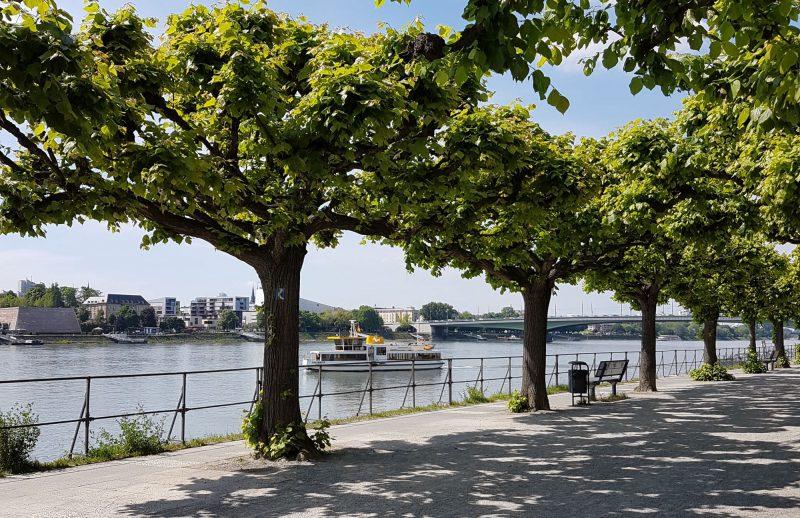 Rheinpromenade Bonn-Beuel mit Blick auf abfahrende Fähre