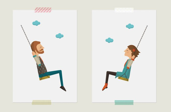 Man and woman on a swing, swinging towards each other