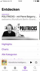 Entdecken-Bereich in der Apple Podcast App