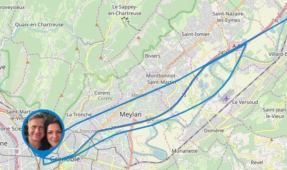 Detailkarte von Gunnars Irrfahrten um Grenoble