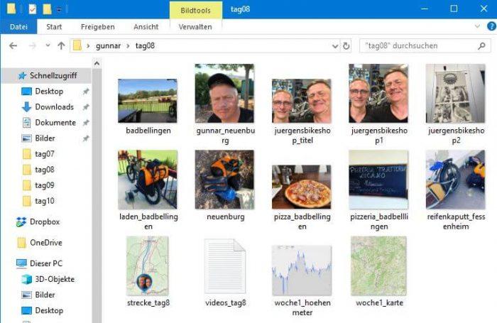 Tagesordneransicht mit Bildern, Videoliste, Karten