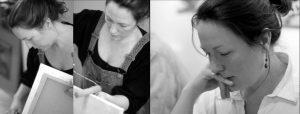 Doppelseite: Frau mit dunklem Pferdeschanz beim Bearbeiten eines Keilrahmens mit Farbrolle und einmal beim Lesen mit Kopf iauf Hand gestützt