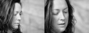 Doppelseite: Zwei Nahportraits von Frau mit langen dunklen Haaren