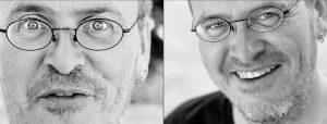 Doppelseite: Zweimal Nahprotrait Mann mit Bart und Brille