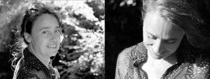 Doppelseite: Frau mit hochgestekcten Haaren, aus denen sich einige Strähnen gelöst haben im Gegenlicht, zurück zur Kamera gewandt, diselbe Frau mit Blick nach unten und wehenden Haaren