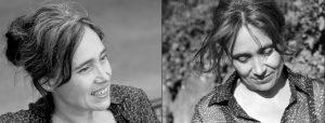 Doppelseite: Halbportrait von Frau mit hochgesteckten Haaren, dieselbe Frau von vorn im Wind mit Blick nach unten