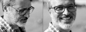 Doppelseite: Nahportrait eines bärtigen Manns mit Brille und Karohemd, einmal im Profil, einmal mit lachendem Blick in die Kamera