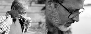 Doppelseite: Bärtiger Mann mit Brille und Zigarette richtet sein Karohemd, Nahaufnahme desselben Manns im Profil