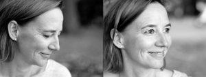 Doppelseite: Profilaufnahme einer Frau mit Blick nach unten, Halbprofil derselben Frau mit Blick in die Ferne