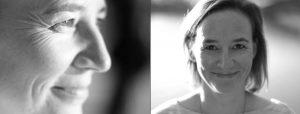 Doppelseite: Nahaufnahme Frau im Abendlicht, dieselbe Frau im Gegenlicht