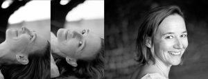 Doppelseite: Kopf einer liegenden Frau einmal mit Blick nach oben und einmal in die Kamera, Portrait derselben Frau lachen mit Blick nach hinten in die Kamera