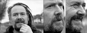 Doppelseite: Portrait von bärtigem Mann mit Rastalocken, zwei Nahportraits desselben Manns im Halbprofil
