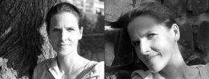 Doppelseite: Zweimal Frau mit hochgesteckten Haaren in Spiel von Licht und Schatten