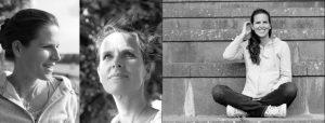 Doppelseite: Zwei Portraits von Frau mit Licht und Schatten, dieselbe Frau im Schneidersitz auf einer Steintreppe