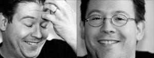 Doppelseite: Zweimal Nahportrait von jungem Mann mit Brille