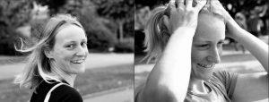 Doppelseite: junge Frau mit fliegendem Haar dreht sich nach hinten zur Kamera um, lachendde junge Frau die sich mit beiden Händen durch die Haare fährt