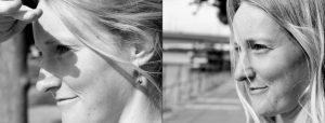 Doppelseite: Zweimal junge Frau schaut in die Ferne
