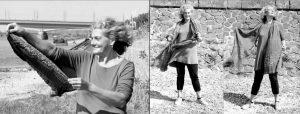 Doppelseite: Verschiedene Ansichten von ältere Frau, die mit brsticktem Schal im Wind spielt