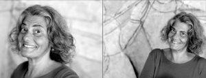 Doppelseite: Zweimal ältere Frau mit Lockenkopf lacht in die Kamera