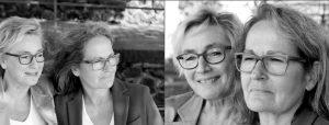 Doppelseite: Zwei ältere Frauen schauen zur Seite, die beiden Frauen im Nahportrait