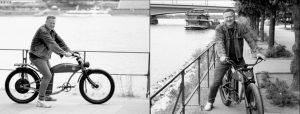 Doppelseite: Zweimal Mann auf Vintagerad am Rhein