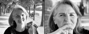 Doppelseite: Frau in Baumallee, Frau schaut in Kamera
