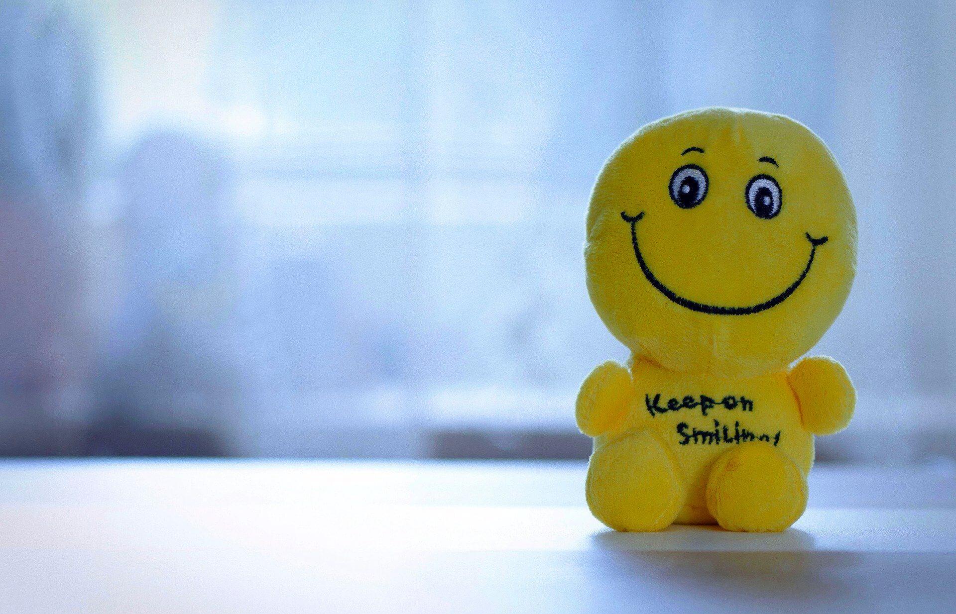 Plüschsmiley sitzt am Fenster, auf seinem Bauch steht: Keep on smiling