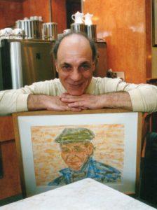 Renato Cardarello mit dem Gemälde zu seinem Portrait, gemalt/fotografiert von Annette Schwindt