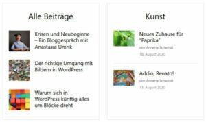 Screenshot zweier Alternativlayouts mit je mehreren Beiträgen pro Kategorie untereinander