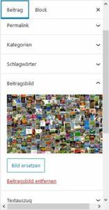 rechte Spalte Blockeditor mit ausgeklapptem Feld für Beitragsbild