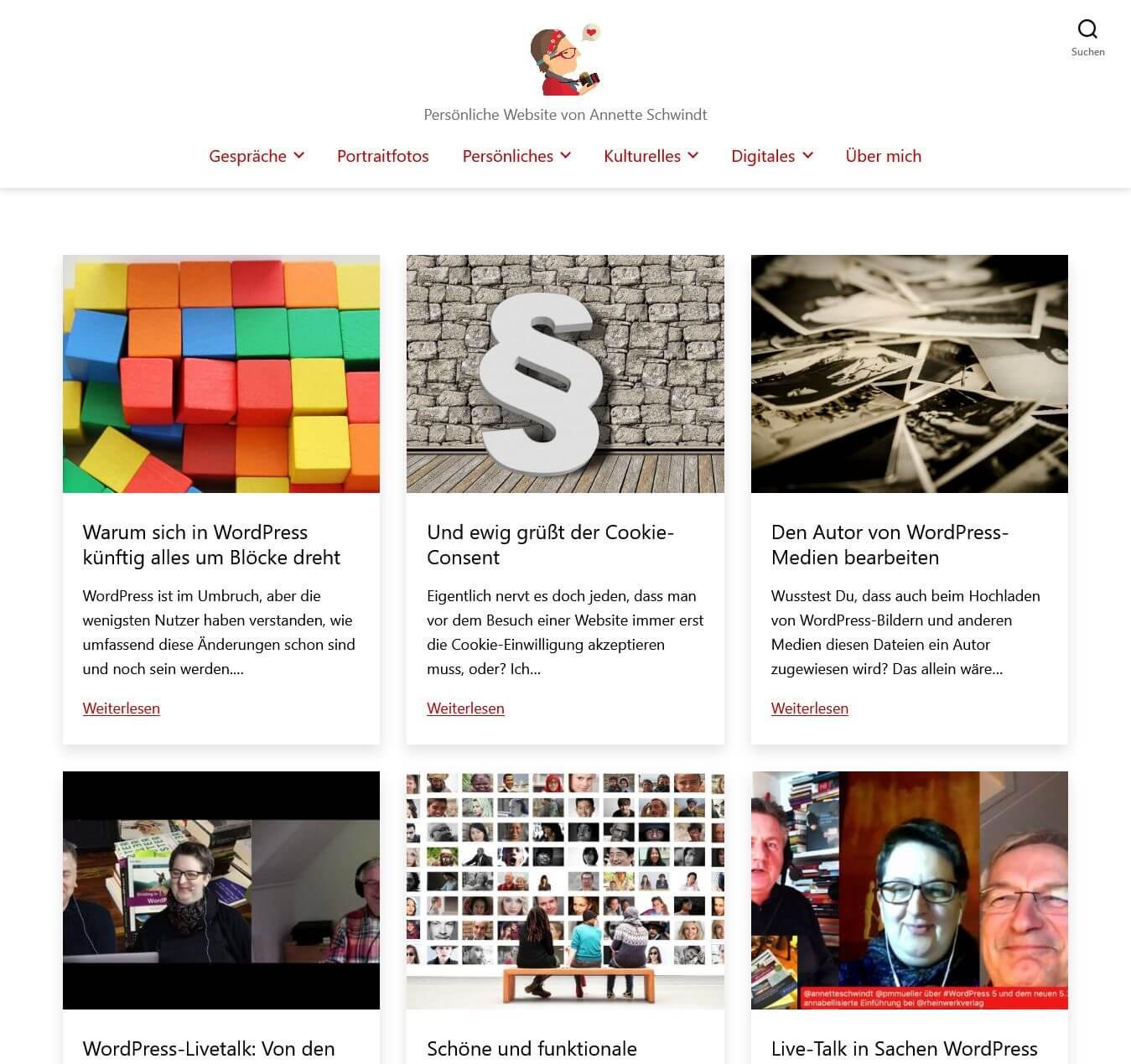 Screenshot der Beitragsübersicht dieser Website mit den darin enthaltenen Beitragsbildern