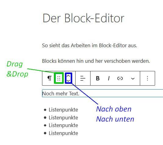 Kontextmenü eines Blocks mit den Optionen zum Verschieben