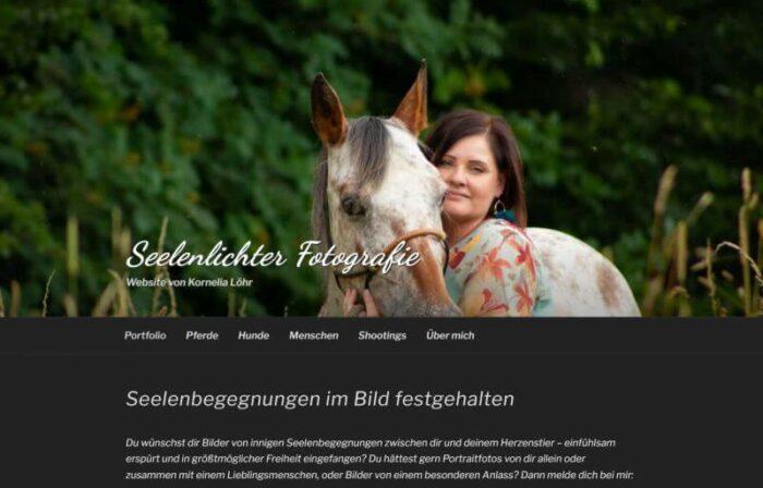 Screenshot der Startseite von seelenlichter-fotografie.de mit Headerbild