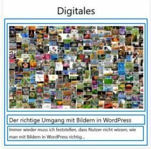 Screenshot eines Widgets nach der Vorlage Neueste Beiträage mit ÜBerschrift, Beitragsbild und Textauszug.
