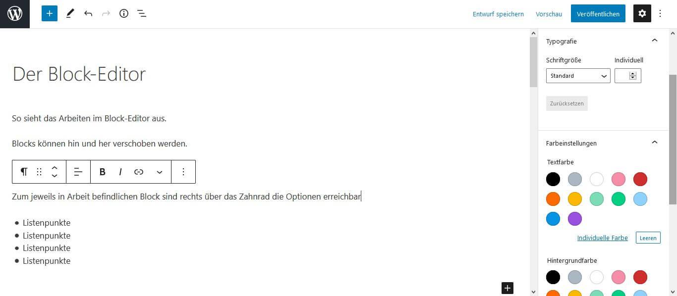 Screenshot des Block-Editors mit Text-Optionen in der rechten Spalte