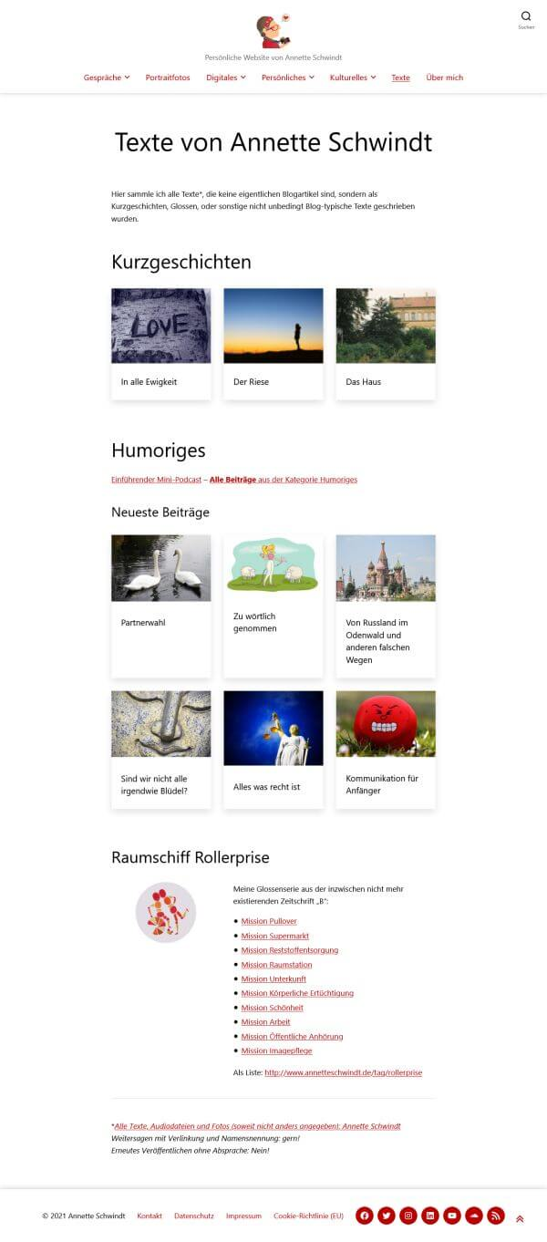 Screenshot der Texteseite mit indiciduelle Beitragslisten je nach Textkategorie